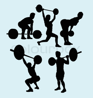303x320 Weightlifting Silhouette Stock Vector Colourbox