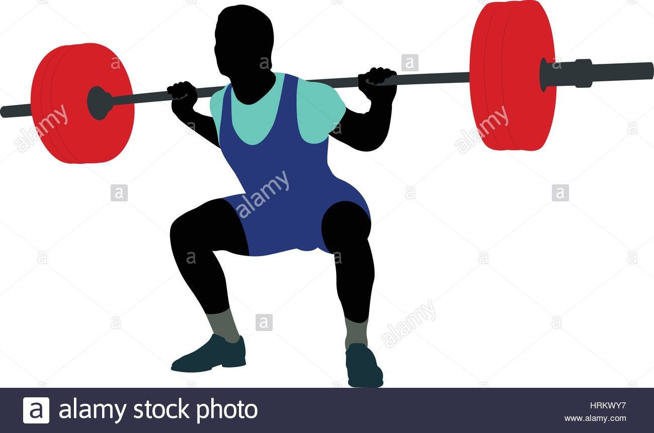 1300x862 Male Athlete Powerlifter Squat In Powerlifting Colored Silhouette