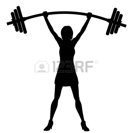 450x450 Silhouette Skinny Girl Lifting Weights Free Clipart
