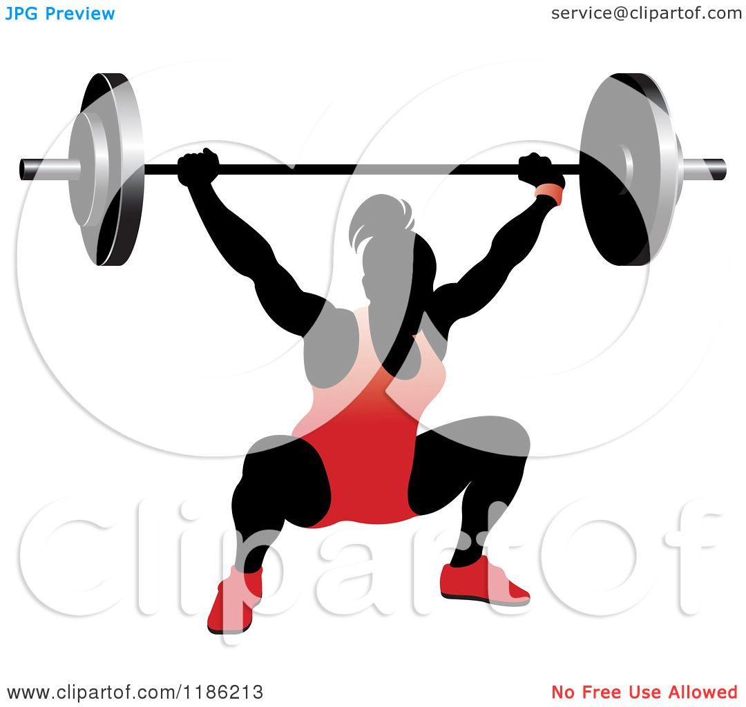 1080x1024 Clipart Of A Silhouetted Female Bodybuilder Lifting A Heavy