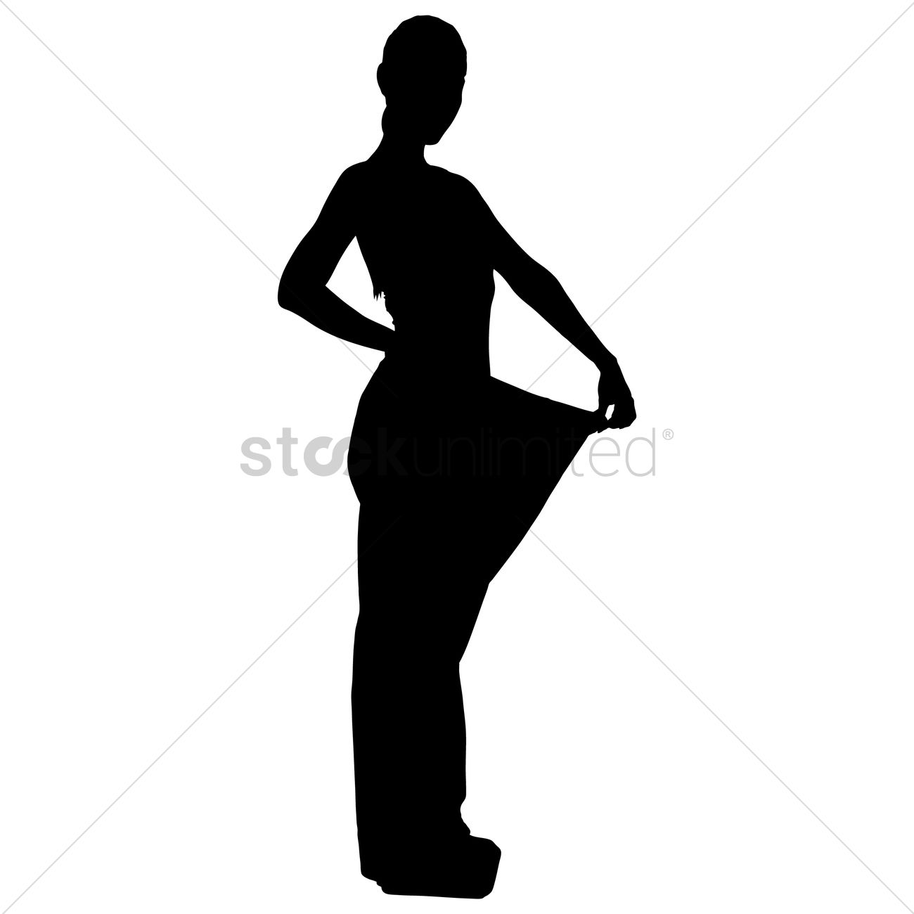 1300x1300 Free Silhouette Of A Woman Weight Loss Vector Image
