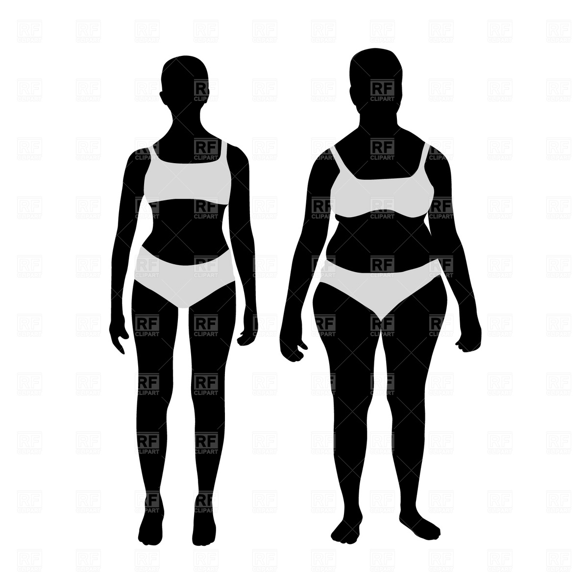 1200x1200 Women Before And After Weight Loss Royalty Free Vector Clip Art