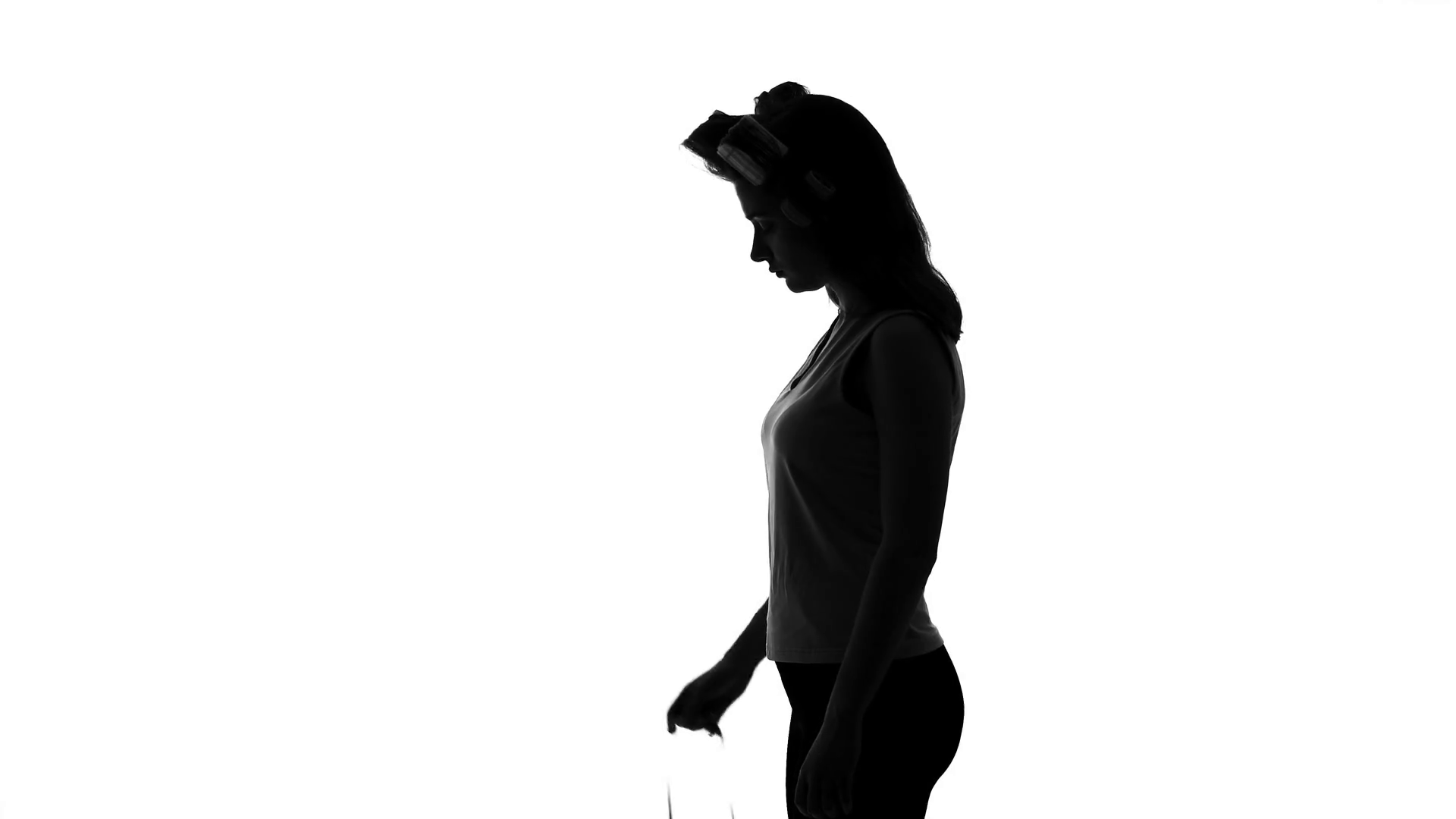 1920x1080 Woman Silhouette Measuring Her Waistline, Diet And Healthcare