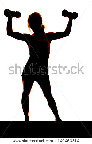 300x470 Silhouette Skinny Girl Lifting Weights Free Clipart
