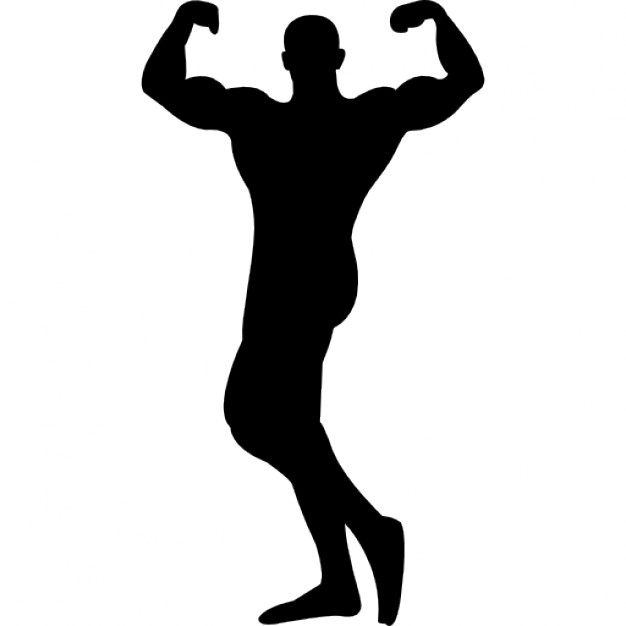 626x626 Male Bodybuilder Silhouette Flexing Muscles Icons Free Download