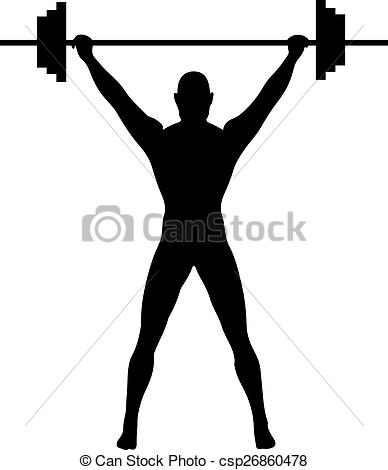388x470 A Silhouette Of A Weightlifter Pressing Weights Vectors