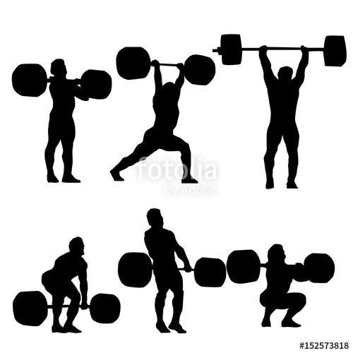 500x500 Clean And Jerk Silhouette Of Weightlifter Stock Image And Royalty