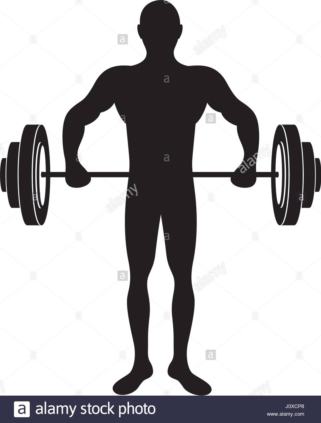 1057x1390 Black Silhouette Muscle Man Lifting A Disc Weights Stock Vector