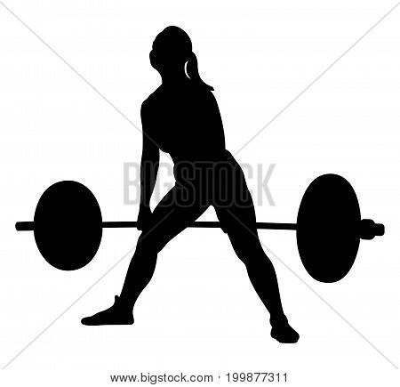 450x435 Woman Athlete Powerlifter Exercise Deadlift Black Silhouette All