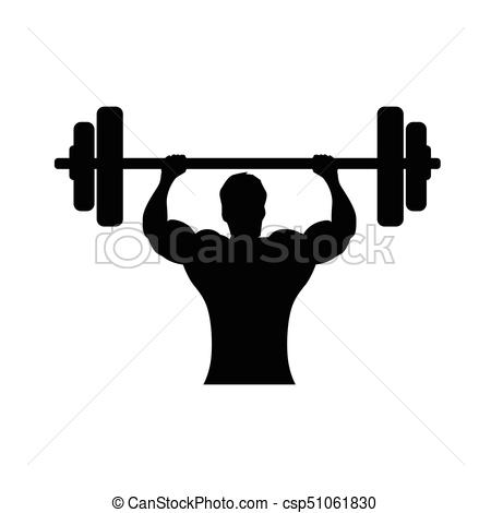 450x470 Bodybuilder Holds Wieght Bar, Bodybuilder Silhouette, Vectors