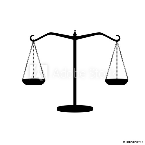 500x500 Silhouette Of Antique Weights. Libra. Scales Of Justice