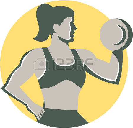 450x434 Silhouette Skinny Girl Lifting Weights Free Clipart