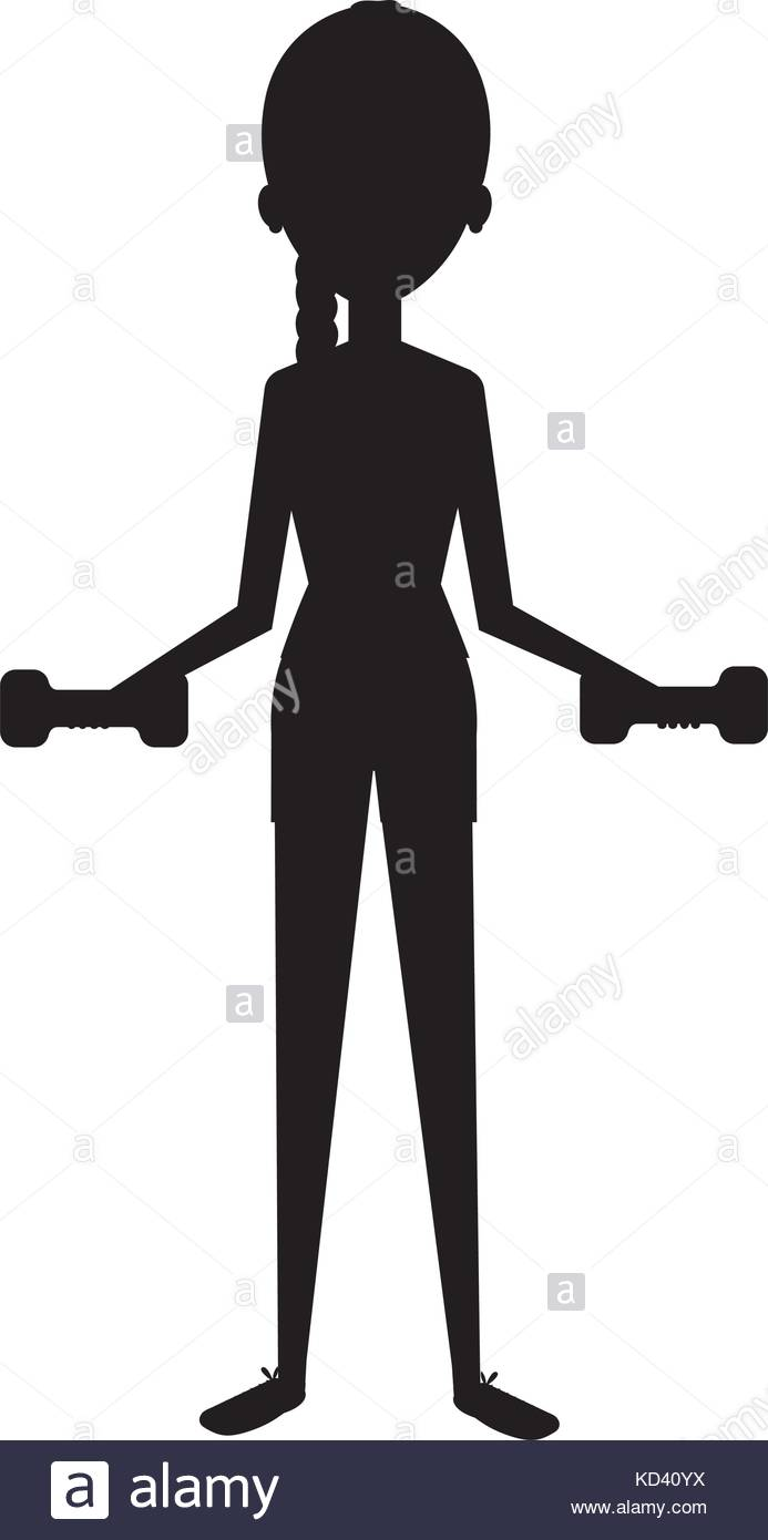 693x1390 Woman Silhouette Lifting Weights Character Vector Illustration