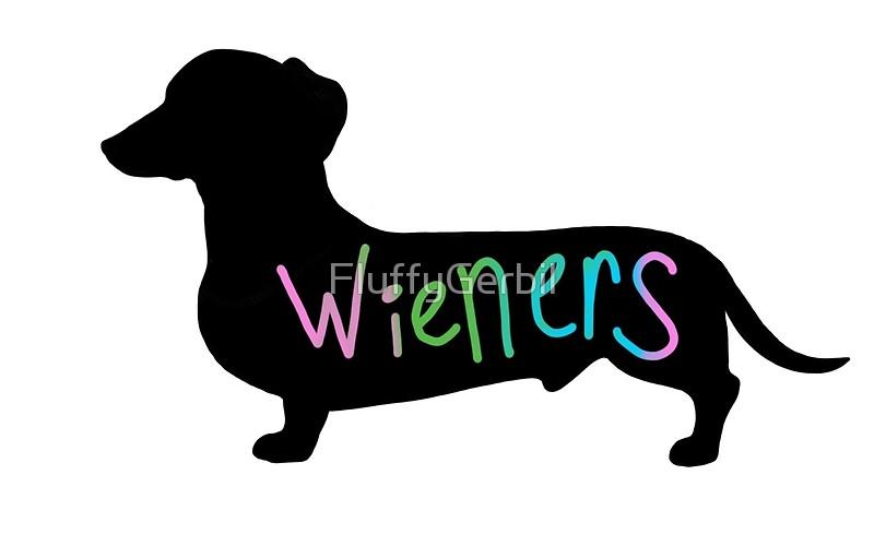 800x500 Wieners Funny Wiener Dog Dachshund Silhouette Rainbow Art Prints