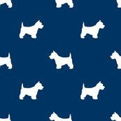 173x173 Westie West Highland Terrier Dog Silhouette Navy Fabric