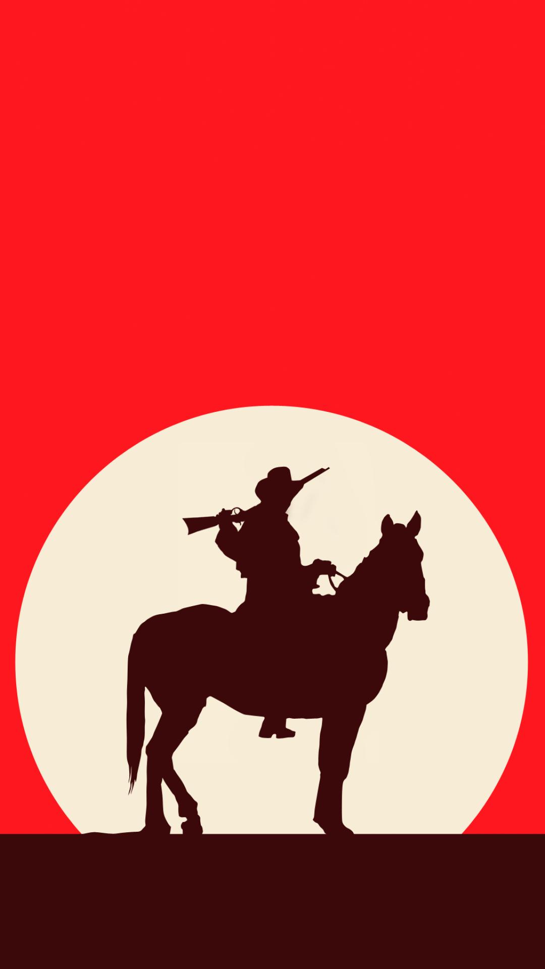 1080x1920 Artistic Cowboy Horse Red Western Red Dead Redemption. Nola Jazz