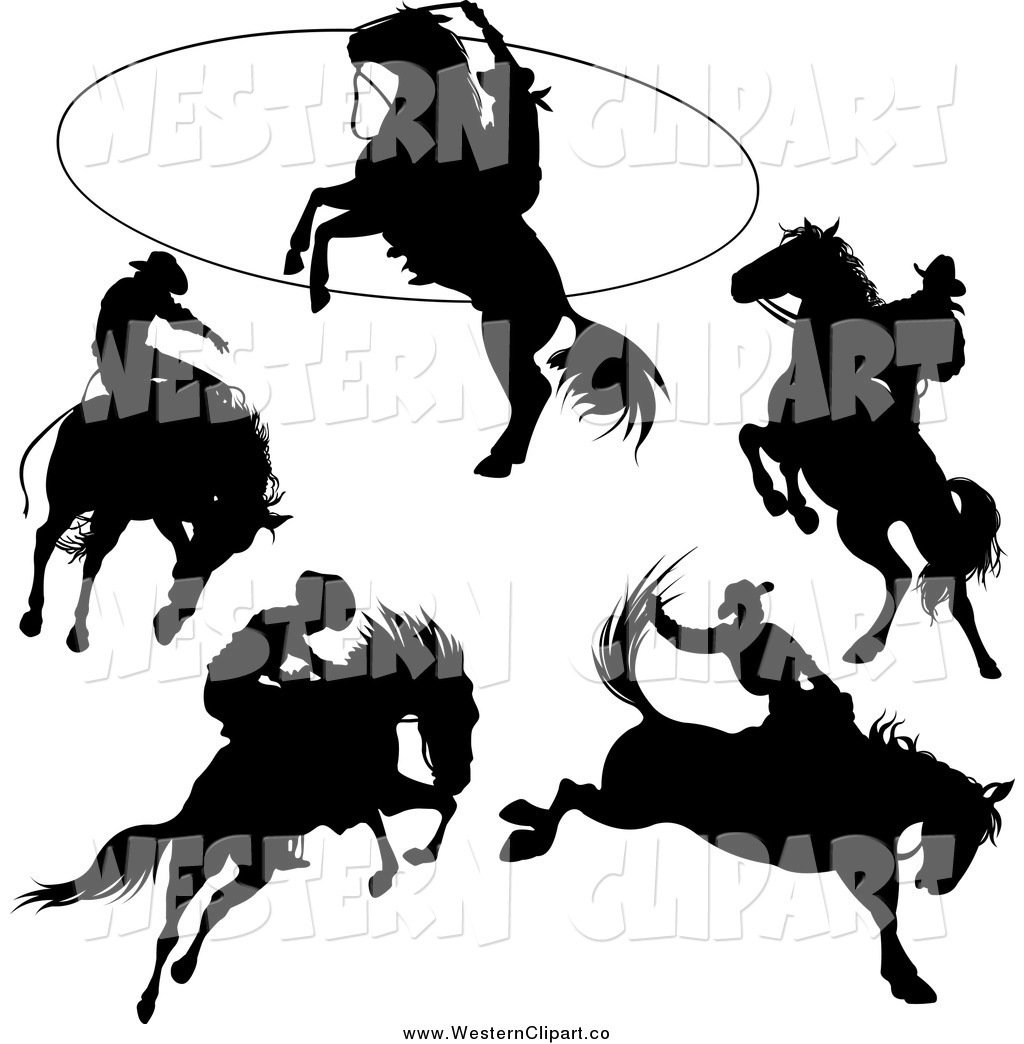 1024x1044 Vector Clip Art Of Western Rodeo Cowboy And Horse Silhouettes By