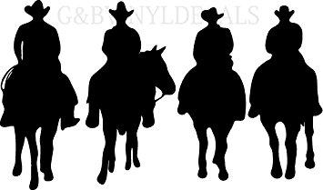 355x209 Cow Boys Western Horses Horse Riders Silhouette Wall Lettering