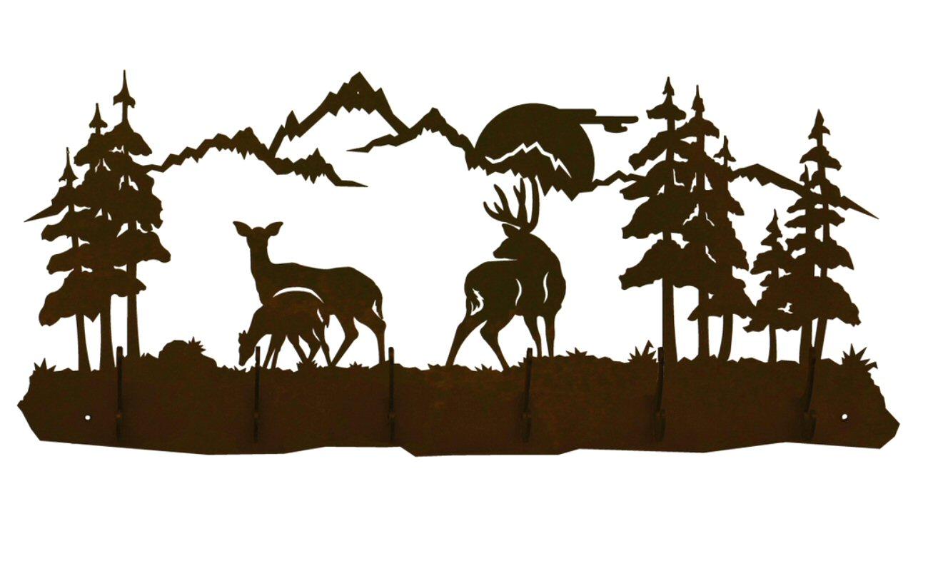 1300x800 Deer Family Scene Six Hook Metal Wall Coat Rack