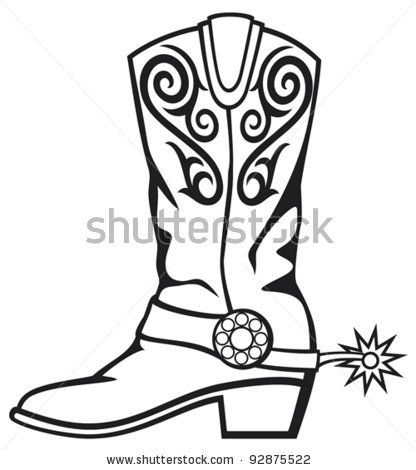 416x470 Western Black And White Clip Art Cowboy Boot Stock Vector