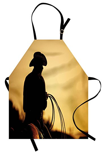 371x550 Western Apron By Lunarable, Cowboy With Lasso