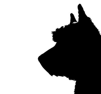 400x374 West Highland Terrier Silhouette Extra Large Cotton Canvas Tote