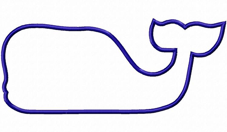 750x436 Large Applique Whale Silhouette Machine Embroidery Design