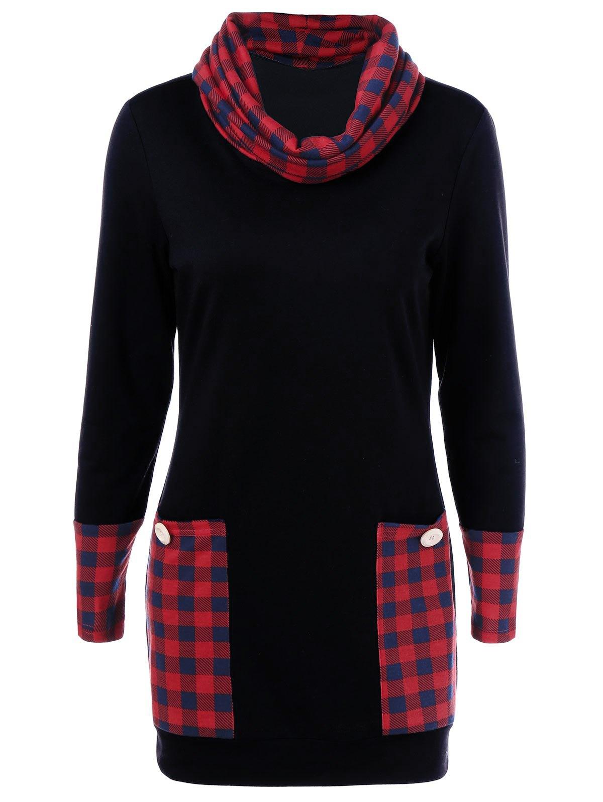 1200x1596 Plaid Trim Cowl Neck Dress