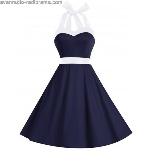 500x500 Tone Lace Up Halter Vintage Dress