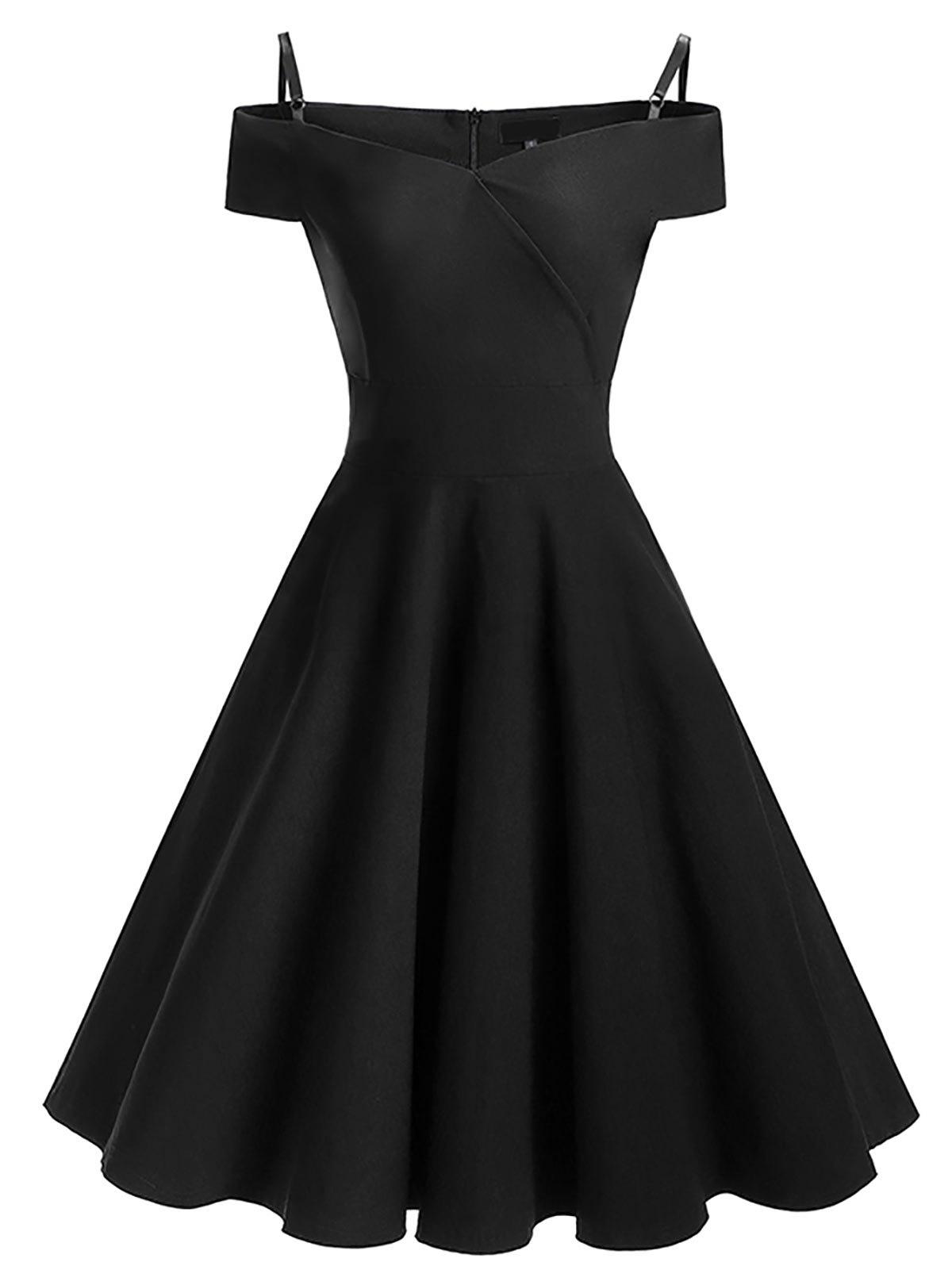 1200x1596 Vintage Cold Shoulder Skater Pin Up Dress