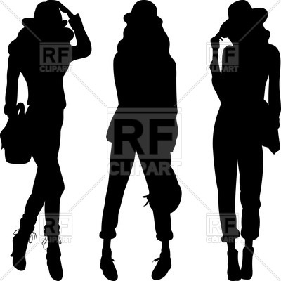 400x400 Silhouettes Of Fashion Girls Top Models Royalty Free Vector Clip
