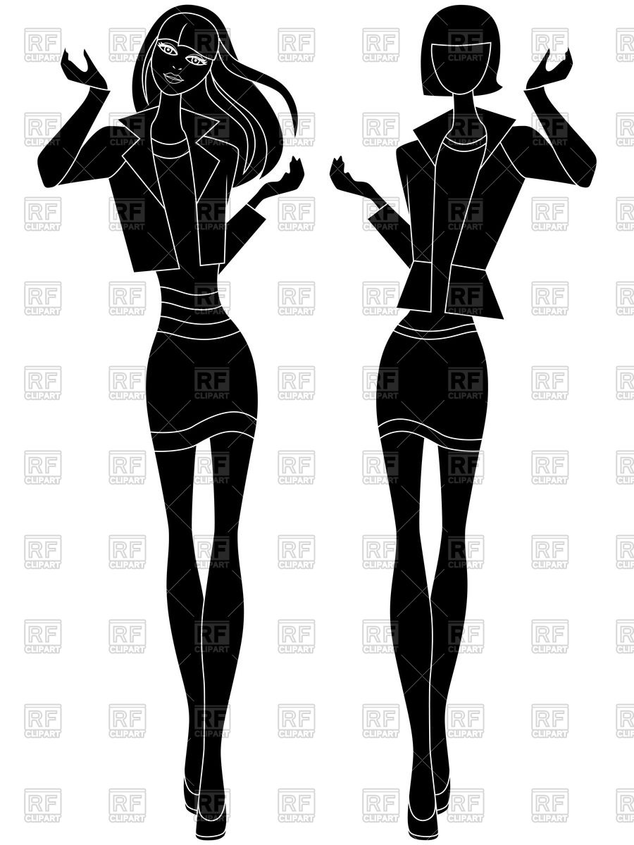 900x1200 Silhouettes Of Fashion Models Royalty Free Vector Clip Art Image