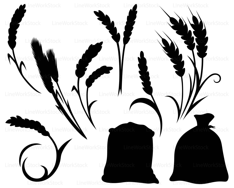 3000x2400 Wheat Svgrye Clipartwheat Svgrye Silhouettewheat Cricutrye