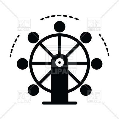 400x400 Ferris Wheel Silhouette Royalty Free Vector Clip Art Image