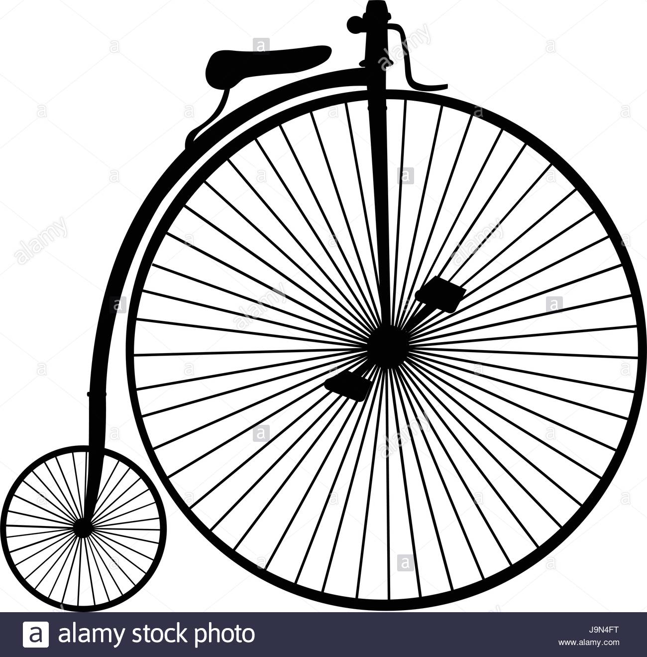 1300x1319 Penny Farthing Or High Wheel Bicycle Silhouette Isolated On White