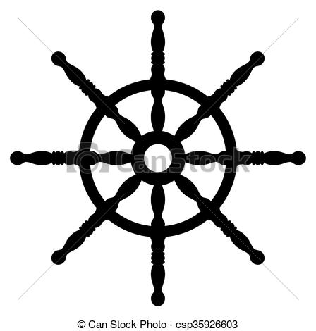 448x470 Ship Wheel Silhouette Isolated On White Background. Rudder