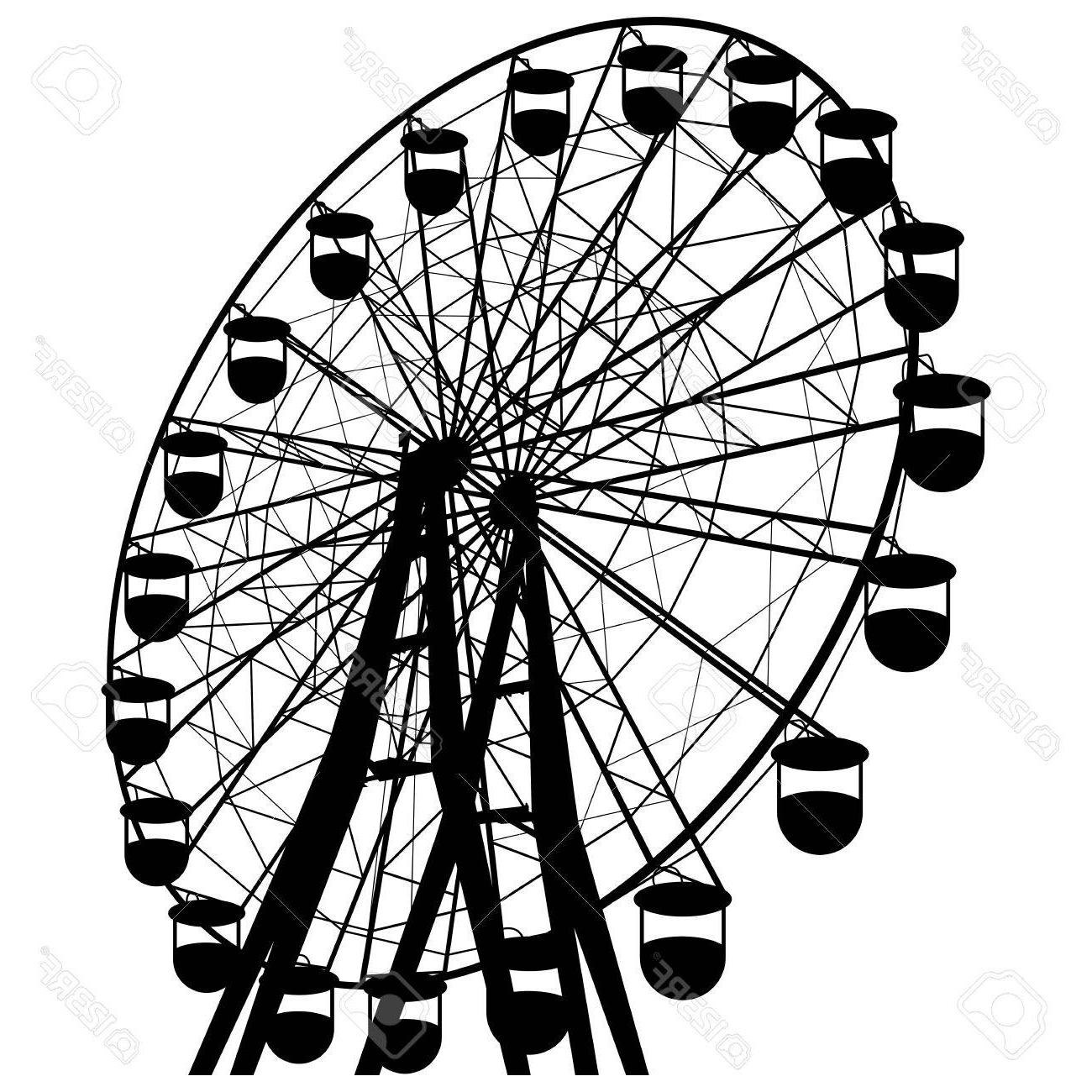 1300x1300 Silhouette Atraktsion Colorful Ferris Wheel Stock Vector