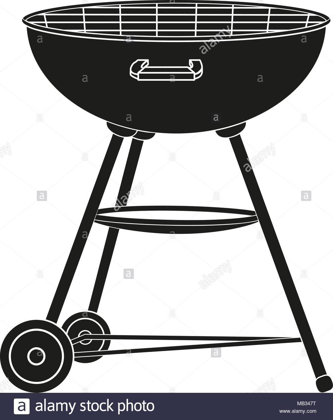 1105x1390 Bbq Grill On Wheel Silhouette. Outdoors Recreation Vector