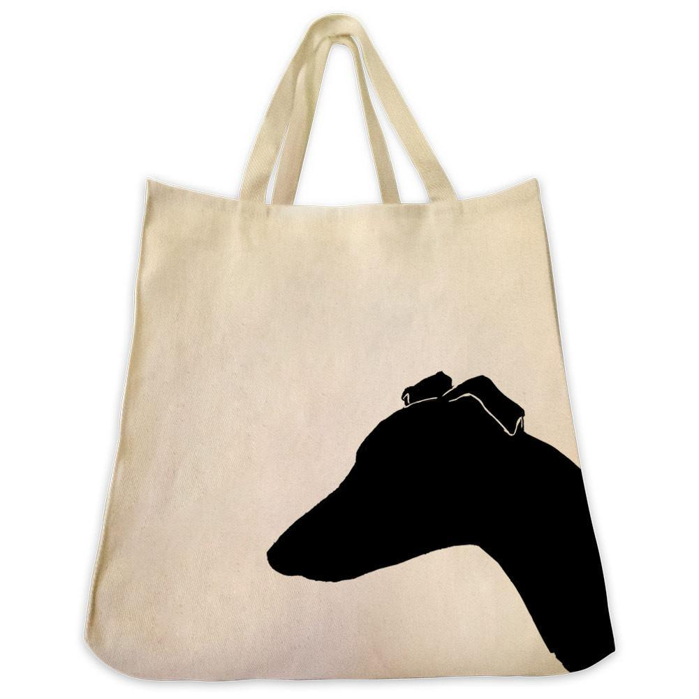 1001x1001 Whippet Silhouette Extra Large Reusable Cotton Canvas Tote Bag