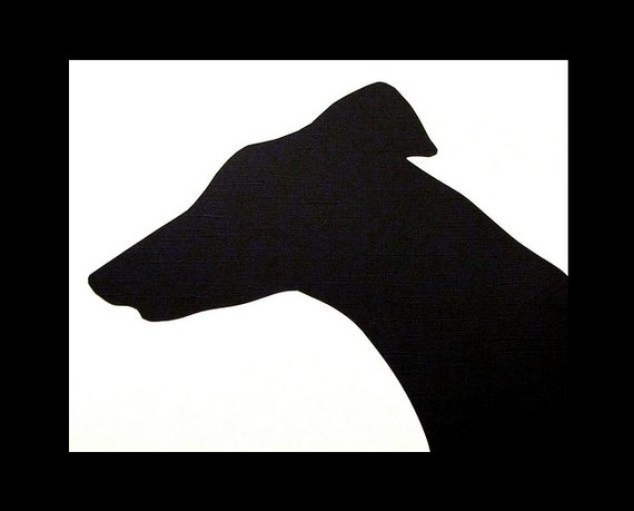 570x459 Boutique Greyhound Silhouette In Black With Black Frame