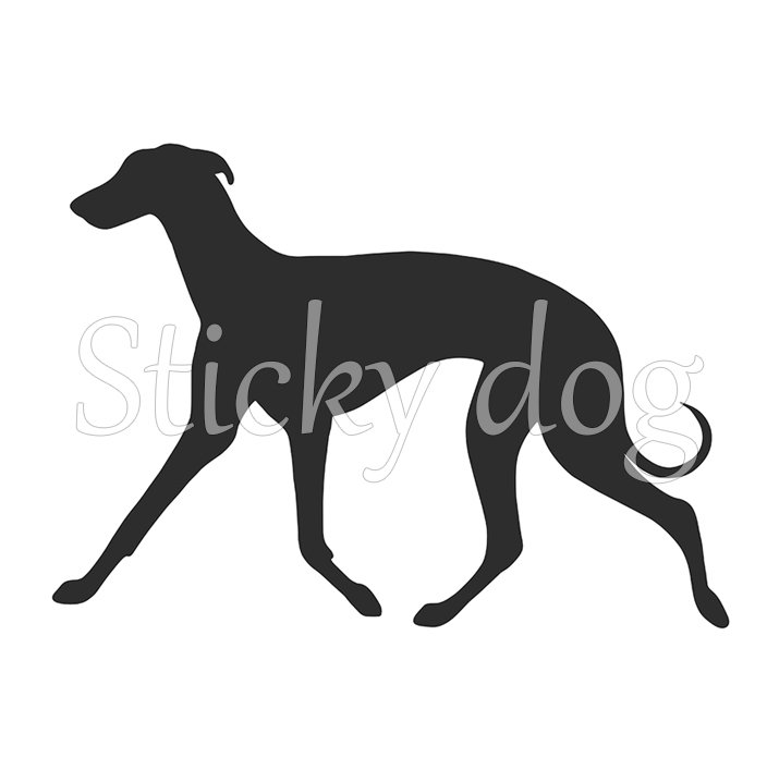 704x718 Whippet Silhouette Sticker