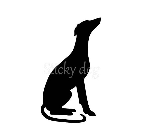 570x534 Whippet Sitting Silhouette Sticker
