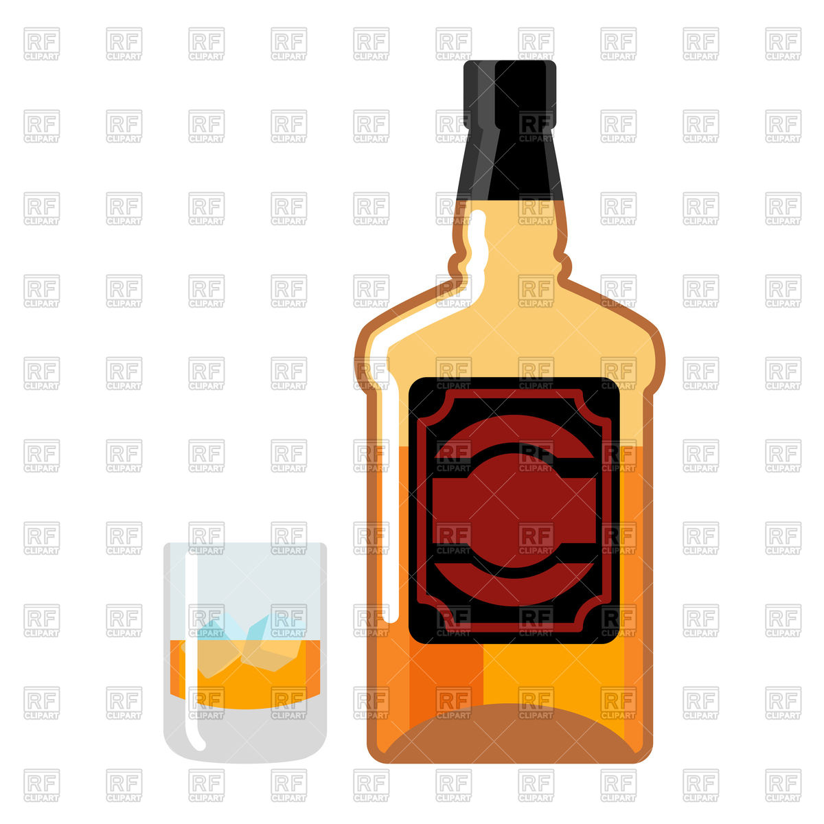 1200x1200 Bottle And Glass Of Whiskey Royalty Free Vector Clip Art Image
