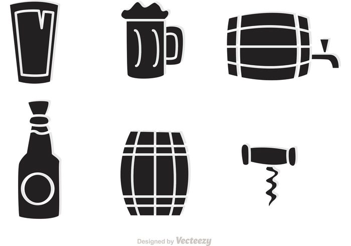 700x490 Black Whiskey Icons Vector
