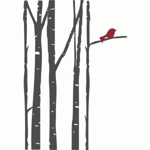 300x300 Birch Trees With Bird Silhouette Design, Birch And Silhouettes