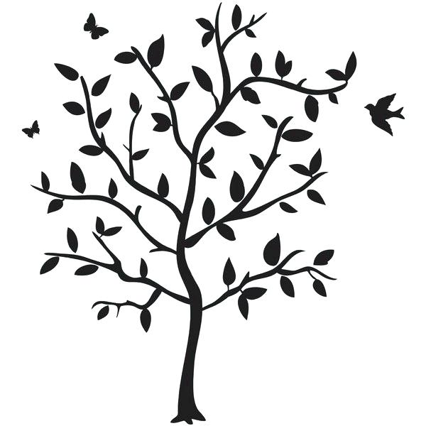 600x600 Black Tree Silhouette Wall Decal Birch Trees Silhouettes Wall