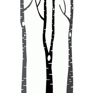 300x300 3 Birch Trees Silhouette Design, Silhouettes And Stenciling