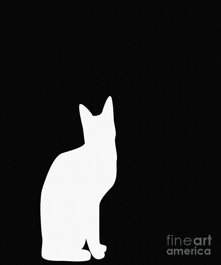 750x900 White Cat Silhouette On A Black Background Digital Art By Barbara