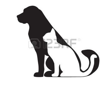 350x279 Vet Silhouette Of Black Dog And White Cat Isolated On White