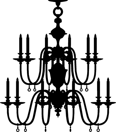 374x426 Chandelier Silhouette Sticker